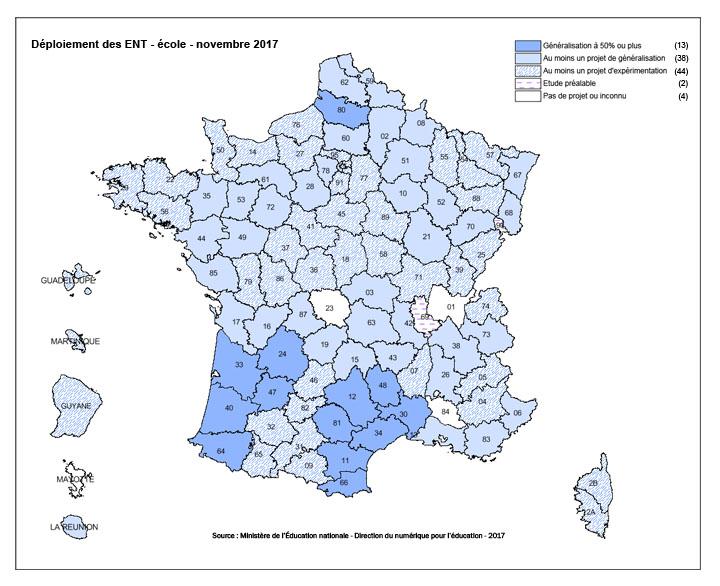 Carte de déploiement des ENT dans les écoles - 2017