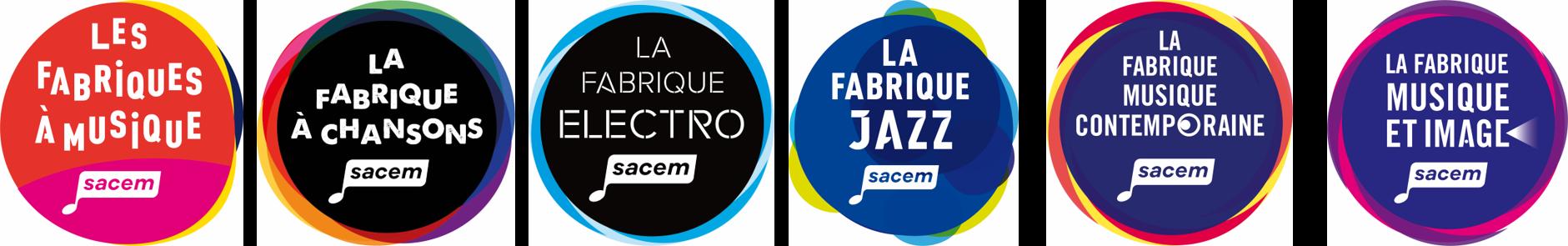 Logos des fabriques à Musiques de la Sacem
