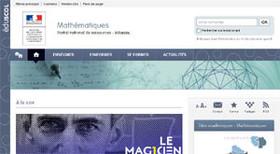 Copie d'écran de la page d'accueil du site disciplinaire éduscol dédié aux mathématiques