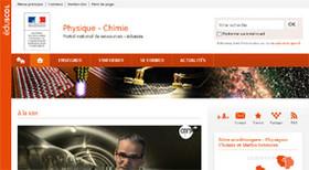 Copie d'écran de la page d'accueil du site disciplinaire éduscol dédié à la physique-chimie