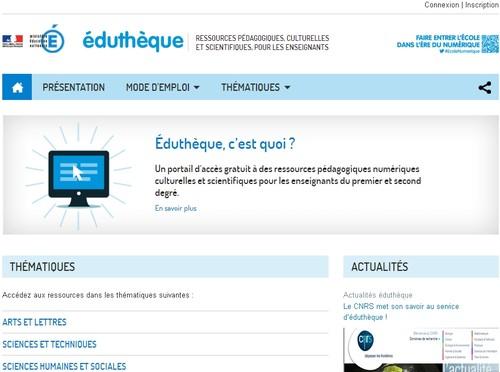 page d'accueil éduthèque