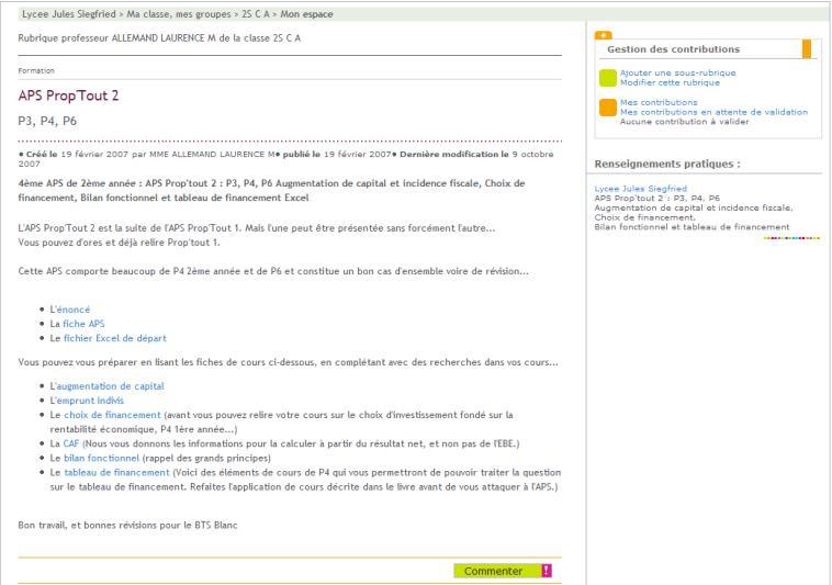 Copie d'écran de l'espace de publication dans l'ENT avec les liens vers les documents de travail