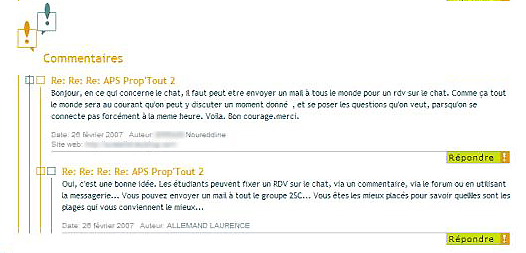 Copie d'écran des réponses aux questions des élèves sous forme de commentaires dans l'espace de publication de l'ENT dans l'ENT