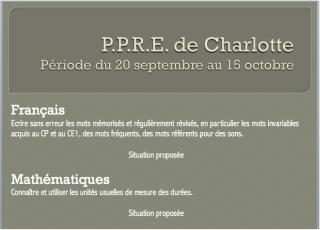 Exemple de PPRE proposé en français et en mathématiques du 20 septembre au 15 octobre